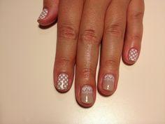 Subtle, lacey bridesmaid nails #lace #dots #polkadots #nude #white #nails #nailart #gelish #gelishart #gelishnailart #nailsbykatdog