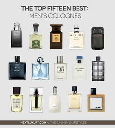 The Top 15 Best Men's Cologne For 2013 MEN'S ESSENTIALS: Top 15 Best Men's Cologne. Colognes are an essential grooming accessory for men. Science agrees, certain scents have been proven to set in motion past memories, which can actually be a significant Best Perfume For Men, Best Fragrance For Men, Best Fragrances, Mens Perfume, Top 10 Men Perfume, Perfumes For Men, Top Parfums, Best Mens Cologne, Good Cologne For Men