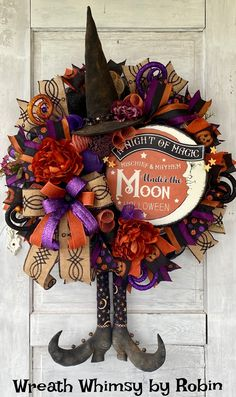 Primitive Halloween Witch Wreath Halloween Witch Wreath, Halloween Deco Mesh, Garlands, Primitive, Inspiration, Home Decor, Wreaths, Biblical Inspiration, Decoration Home