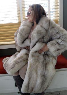 Fabulous Full Lenght Joseph Zaccaria Blue Silver Fox Fur Coat Jacket s Vintage | eBay