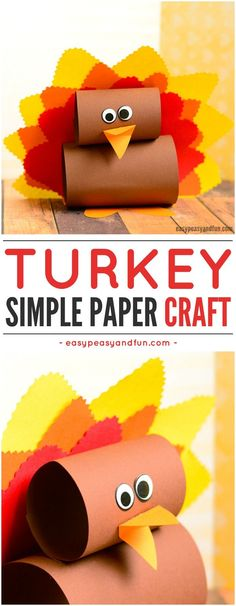 Simple Paper Turkey Craft for Kids. Fun paper Thanksgiving craft idea to keep them busy.