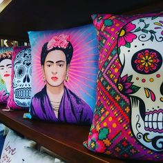Gorgeous Frida Day of the Dead Pillows by karmaLiving available at Barrio Antiguo 725 Yale St Houston Texas 77007 (713)880 2105