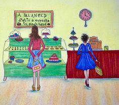 artwork #character #bakerylife #bakeryshop #bakerylover #bakerycafe #bakerygirl #cupcakeshop #ilovesweetstuff #ilovecupcakes #ilovedonuts #whattochoose #sweettooth #iminheaven #whatdiet #facelessfriends #illustrations