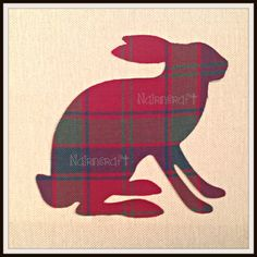 1x 6 1/2 in. Ba20. Large Hare/Rabbit, Multi-coloured Tartan, Wool Fabric,Cut Out, Iron On, Appliqué by Nairncraft on Etsy £3.50 plus P&P.