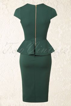 Carese Peplum Dress in Green : Vintage Chic Racing Green Peplum Pencil Dress 100 40 16415 20150908 Chic Outfits, Dress Outfits, Fashion Outfits, Girl Fashion, Peplum Dresses, African Fashion Dresses, African Dress, Cute Dresses, Casual Dresses