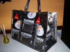 saco reciclado de pacotes de cafe tamanho XL..