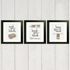 Farmhouse Bathroom Wall Decor Set Of 3 Prints For Rustic