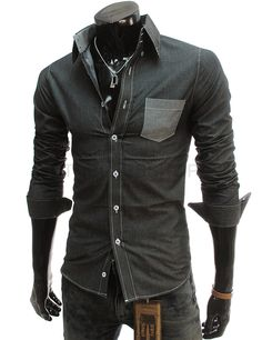 (AL174-BLACK) Slim fit 2 Tone Pocket Shirts