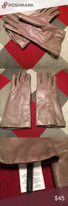 JCrew Tech Cashmere Leather Gloves Large Lovely leather cashmere-lined JCrew gloves size large. Worn last winter, so the leather is soft. In great condition with no stains or tears. The cashmere lining goes all the way to the tips of the fingers. The thumb and pointer fingers are tech friendly so there's no need to remove them in the cold! Best described as a taupe color. J. Crew Accessories Gloves & Mittens