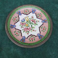 porcelaine & argent grand plat décoratif au décors Japonisant peut-être Asie