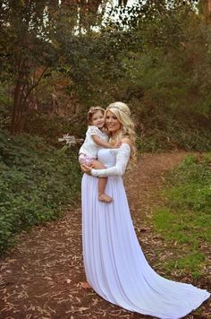 Emma Gown - Long Sleeve Lace Sweetheart Top Stretch Knit Maxi Style Maternity Gown