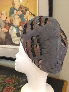 VINTAGE HAT 1930s - stunning French feather Caplet perfect for Goodwood Revival