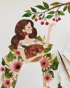 I can't wait for cherry season. 🍒 ~ Work in progress / Watercolors on Arches hot pressed watercolor paper. Cute Illustration, Character Illustration, Watercolor Illustration, Watercolor Art, Flower Drawing Tutorials, Art Tutorials, Pencil Drawings Of Animals, Art Drawings, Gouache