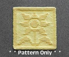 SUNFLOWER Knit Dishcloth Pattern - PDF Instant Download - Knit Wash Cloth Pattern - Knitted Dishcloth Pattern ~ Easy Knit Patterns