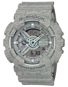 Highly functional and dependable, this men's G-Shock Big Case is a great addition to any watch collection. Uniquely showcasing a trendy gray heather pattern resembling sweatshirt fabric, the overall d