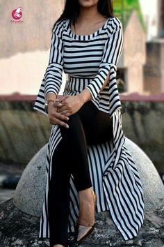 Black and White Stripes Crepe Kurti Kurti Sleeves Design, Sleeves Designs For Dresses, Kurti Neck Designs, Kurti Designs Party Wear, Blouse Designs, Latest Kurti Designs, Indian Fashion Dresses, Hijab Fashion, Fashion Outfits