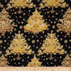 Hoffman Celebration Abstract Trees Metallic Onyx ~ Christmas fabric