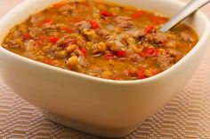 South Beach Diet Lentil Soup with Italian Sausage and Roasted Red Peppers