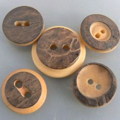 "Five w/natural tagua nut bark attached vintage vegetable ivory buttons lot. One medium just over 3/4"" three are just under 5/8"". Asking price: 5pc lot for $4.50"