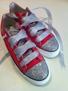 509d4310d44f28 Red Converse Shoes Featuring Clear Swarovski Crystals CO27  converse