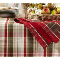 pottery barn christmas linens | Plaid Tablecloths - Shop for Plaid Tablecloths on Polyvore
