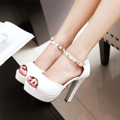 Square Rivets Decorated Sandals Material:PU Lining Material:PU; Outsole Material:Rubber; Heel Height:11.5cm; Upper Height:Low-Cut Upper