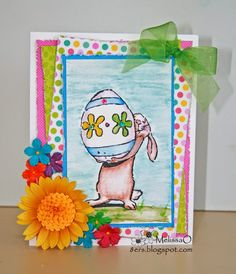 Art Impressions: Bunny and Egg (Sku#P3098)  ... handmade Easter rabbit card.