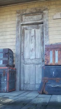 Cool old western door at the train platform