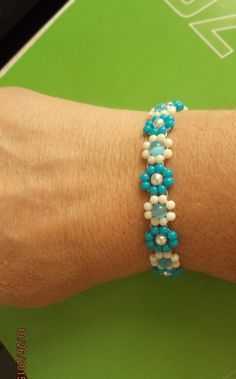 Native American Style Beaded Turquoise and White Bead Daisy with Pearls and Cat Eyes Chain Flower Bracelet Ready to Ship GREAT GIFT by BeadedCreationsetc on Etsy