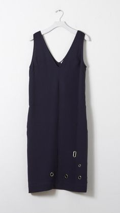 Nomia V-Neck Shift with Grommets in Navy | The Dreslyn
