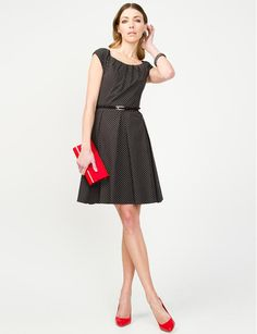 Polka Dot Fit and Flare Dress - Jacob