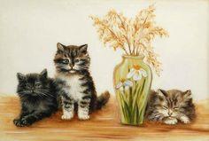 Kittens with Vase of Flowers - Bessie Bamber