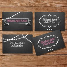 Chalkboard Tent Cards, Food Labels, Buffet Cards, Food Tags, Labels - Instantly Downloadable File - Edit and Print at Home!
