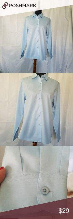 "NORDSTROM FOXCROFT NON IRON DRESS SHIRT 12 FOXCROFT NON IRON SHAPED FIT BLUE DRESS SHIRT 100% cotton  size 12. Button cuffs.  Armpit to armpit is 21"" and shoulder to hem is 26"". Perfectly professional for work. NWOT Nordstrom Tops Button Down Shirts"