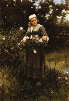 The Athenaeum - Gathering Roses Daniel Ridgway Knight - Date unknown Private collection Painting - oil on canvas Height: 130.81 cm (51.5 in.), Width: 88.27 cm (34.75 in.)