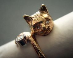 14k Gold Cat Ring with Diamonds 3-D 5g Figural Size 7. $318.00, via Etsy.