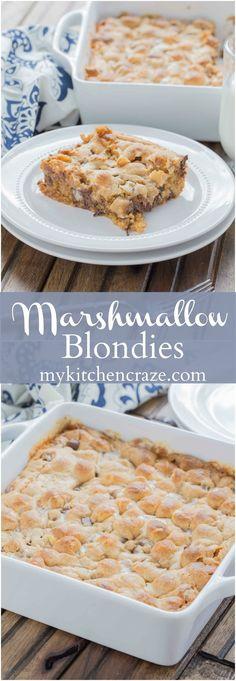 Marshmallow Blondies ~ mykitchencraze.com ~ Need a tasty and quick dessert?…