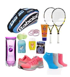 What's in my Tennis Bag?❤️ by gabibaker on Polyvore featuring polyvore, beauty, Banana Boat, NIKE, Babolat and Eos