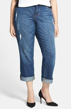 Jag Jeans 'Henry' Destroyed Boyfriend Jeans (Reservoir) (Plus Size) on shopstyle.com