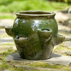 Round Fishbowl Ceramic 6 Pocket Strawberry Jar Planter