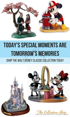WALT DISNEY CLASSICS FIGURINES - The Classics Collection started in 1992 with three scenes, Bambi, Cinderella, and Fantasia's Sorcerer Apprentice. Many other series have since been introduced. Some figurines are limited, and some have been retired. Some of these figurines have risen high on the secondary market. The figurines are made of porcelain, and the process is similar to that use to make Hummel figurines. Individual pieces are molded, put together, and fired in an oven. Then they are…