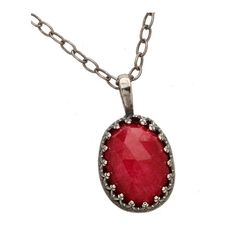 Becky Kelso Ruby Pendant Necklace ($388) ❤ liked on Polyvore featuring jewelry, necklaces, accessories, red, chain pendants, pendant chain necklace, red jewelry, ruby jewelry and ruby necklace
