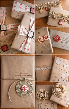 "Christmas Inspiration ● 8 Techniques for  Gift Wrapping with Kraft ~ See My Board ""Creative Wrapping"" for more Wrapping Inspiration"