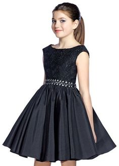 Lexie by Mon Cheri TW21534 Elegant Black Girls Party Dress, Tween Dresses, Bat Mitzvah Dresses