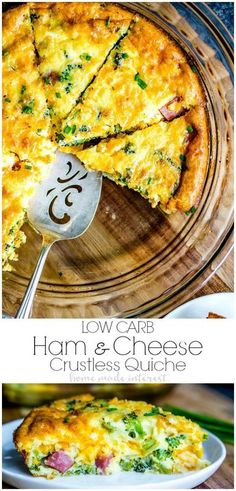 Low Carb Ham and Cheese Crustless Quiche This easy low carb quiche recipe is filled with ham, cheddar cheese, and broccoli, for an amazing keto breakfast. Crustless quiche is easy to make and would be perfect for as a low carb brunch recipe because you Low Carb Quiche, Keto Quiche, Quiche Recipes, Quiche Crustless, Ham Quiche, Healthy Quiche, Sausage Quiche, Frittata, Make Ahead Brunch Recipes
