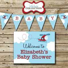 Airplane Baby Shower Party Pack printable by designingforpeanuts Baby Shower Parties, Baby Boy Shower, Shower Party, Helicopter Birthday, Airplane Baby Shower, Party Packs, Thank You Cards, Peanuts, Birthdays