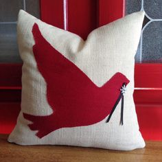 Ready to Ship Christmas Applique'  Red Bird in by TurtleAndTreadle