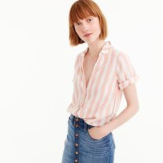 Short-sleeve button-up shirt in wide stripe
