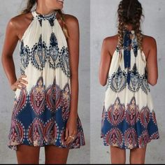 Nwt boho mini dress Nwt Size small Can fit an xsmall as well Lightweight Really short suggest under 5ft to wear as a dress Anyone Taller can be used as a top with shorts. Shorter in the front, longer in the back. Send a offer Dresses Mini