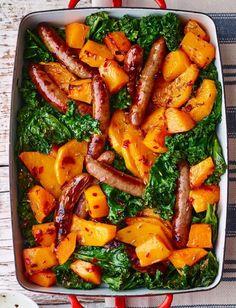 Sausage, butternut and kale traybake | Sainsbury's magazine
